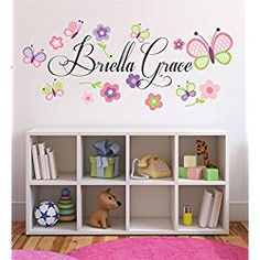 Baby Girl Initial Personalized Custom Name Vinyl Wall Decal  W - Personalized custom vinyl wall decals for nursery