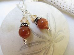 Peach Moonstone Earrings Swarovski Earrings Crystal