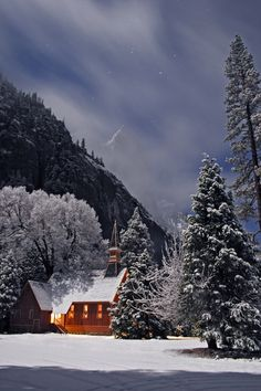 Winter Moonlight - Yosemite Chapel