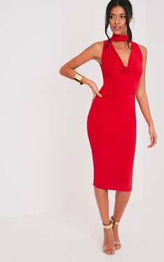 Nayasha Red Slinky Choker Wrap Midi Dress