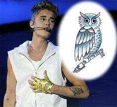 Justin Bieber Owl Temporary Tattoo