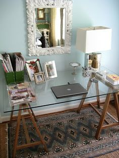 diy sawhorse desk. simple, elegant. would paint and antique the wood, too.