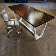 Wood And Steel Desk now featured on Fab. [John Beck Paper & Steel]