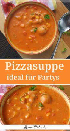 Pizza soup, ideal for parties or as a family dinner - My .- Pizzasuppe, ideal für Partys oder als Familienessen – Meine Stube Pizza soup, ideal for parties or as a family meal and sitting together comfortably - Healthy Chicken Recipes, Pizza Recipes, Healthy Dinner Recipes, Mexican Food Recipes, Healthy Snacks, Healthy Eating, Fish Recipes, Le Diner, Meals For Two
