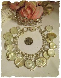Antique Mother of Pearl Button Bracelet | Rose Blossom Cottage