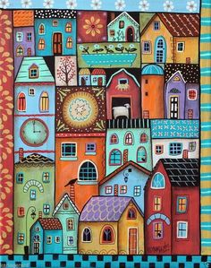 Karla Gerard Art Items: Designs & Collections on Zazzle Karla Gerard, House Quilts, Arte Popular, Naive Art, Whimsical Art, Painting & Drawing, Painting Abstract, Art Lessons, Home Art