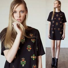 Cute Black Shift Dress With Multi Colored Gems and Jewels Shirt Dress