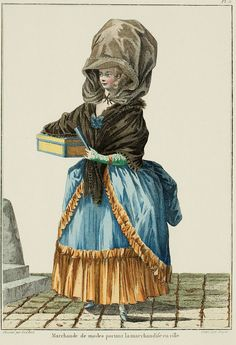 "A Most Beguiling Accomplishment: Galerie des Modes, 7e Cahier, 5e Figure (1778). Caption & long description translated by @Cassidy. ""Marchande de modes carrying her merchandise in the city... A vast therese of black silk with turned-up edges, trimmed with gauze, covers her head and hides a part of her charms from the avid gaze of passersby; but her mantelet is arranged in such a manner to keep the elegance of her shape from escaping the viewer. She is dressed in a robe unie,* trimmed with..."""