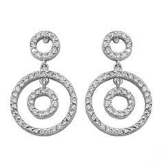 Circle Diamond Drop Earrings in 14k White Gold (1.00 ctw) - Allurez.com