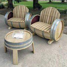 Wine barrel patio furniture.   Creative idea for a backyard