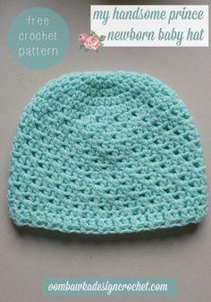 My Handsome Prince Newborn Baby Hat - Free Crochet Pattern