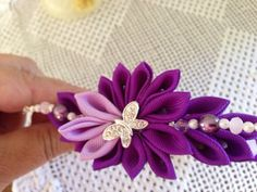Purple and lavander headband with butterfly pearls by 3BusyBirds, $18.00