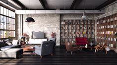 Poltrone, lampade, soffitto, libreria tutto rigorosamente Industrial style