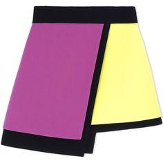 Fausto Puglisi Mini Skirt ($460) ❤ liked on Polyvore featuring skirts, mini skirts, purple, pattern skirt, short skirts, print mini skirt, zipper skirt and multicolor skirt