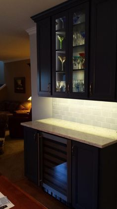 Change The Desk To A Beverage Station. Love The 2 Glass Doors. View Kitchen