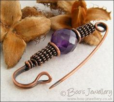 Antiqued copper and amethyst kilt pin brooch