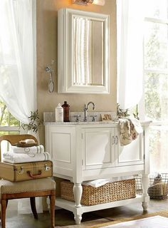 How to Decorate a Small Bathroom & Decorate a Bathroom | Pottery Barn..windows good light furnished