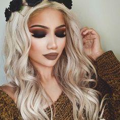 "Details:  Eyeshadow @morphebrushes 35O & ""Noir"" eyeshadow from @anastasiabeverlyhills on the lid @lillylashes ""ALINA"" (link in bio to shop these!) @jeffreestarcosmetics ""Posh spice"" & @blackmooncosmetics ""Grim"" on the lips  @anastasiabeverlyhills dip brow ""medium brown""  Flower crown: @icingstores  Sweater @boohoo"