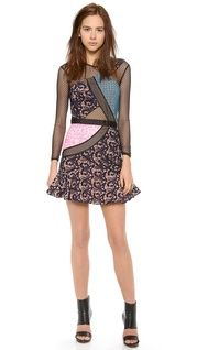 Self Portrait Paneled Pleated Midi Dress | SHOPBOP