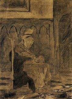Vincent Van Gogh,  Old Woman Asleep after Rops-2