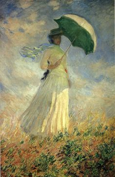 Woman with a Parasol, Facing Right (also known as Study of a Figure Outdoors (Facing Right)) - Claude Monet