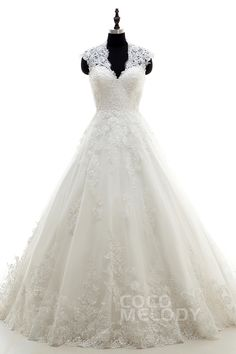 Modern A-Line V-Neck Natural Court Train Tulle Ivory Sleeveless Key Hole Wedding Dress Appliques h7al0084