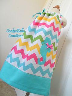Adorable Seahorse Rainbow Chevron with Aqua Trim Pillowcase Dress 6m-4T