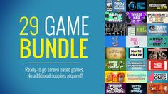 29 Game Bundle  The greatest game bundle in the history of game bundles! Get 29 BRAND NEW youth ministry screen games for just $49. A $99 value!  You get ALL of the hilarious games listed above, ready to go. Your students will laugh out loud at New Test-Emoji. Their pop culture skills will be tested with Name the Craze. And 27 more? Unreal.