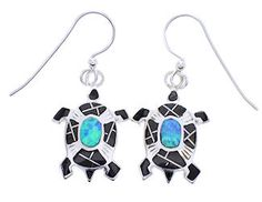 Jet And Blue Opal Genuine Sterling Silver Turtle Hook Dangle Earrings AW70634 http://www.silvertribe.com