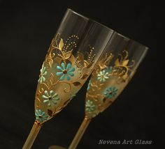 Champagne Glasses Wedding Glasses Gold Mint Blue by NevenaArtGlass