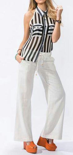 Blusa + pantalón blanco
