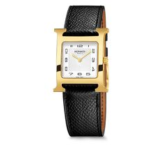 Heure H Hermes gold-plated steel watch, 26 x 26mm, white dial, quartz movement, interchangeable black grained calfskin strap