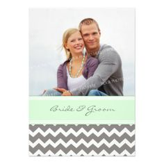 Photo Wedding Invitations Grey Mint Chevron http://www.zazzle.com/photo_wedding_invitations_grey_mint_chevron-161568296830695201?rf=238282136580680600