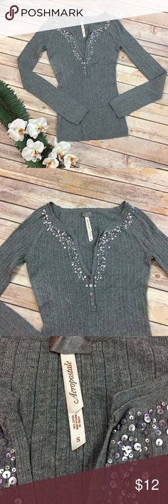 Aeropostale Gray Sequined Thermal Button Top Small Super cute gray Aeropostale Thermal top with Iridescent purple sequins. In excellent used condition, great for layering. Size small.      Meg21 Aeropostale Tops Tees - Long Sleeve