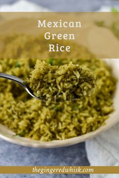 This Mexican Green Rice Recipe (or Arroz Verde) is an easy rice pilaf that is flavorful and lovely. Cooked with cilantro, parsley, onion, garlic, and peppers, this green rice will take your Taco Tuesday to a whole new level!