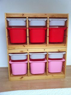 Storage ideas for toddler room.  Ikea Trofast.  This is 2 units stacked together.  $69.99 each w/o bins.  Can also buy shelves instead of bins.
