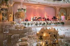 This reception was everything! (Lighting: @thelightersidela / Venue: @BevHillsHotel / Planner: @internationaleventco / Florals: @marksgarden / Photographer: @jessicaclaire / Videographer: @vidicamproductions / Band  DJ: @martik_singer / Dance Floor/Decor/Table Top Rentals/Chairs/Linens: @harryspartyrental / Draping/Chandelier Hooks: @edgedesigndecor / Chandeliers: @melrosegallery)