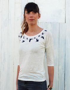 42560b2927876 T shirt original femme 100% lin col hirondelles   Juste La Révolution  Textile