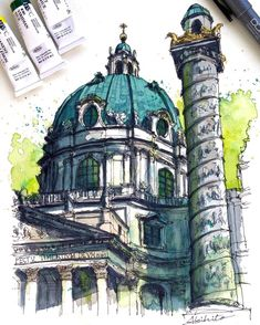 Sketch by Akihito Horigome (@horiaki2) в Instagram: St.Charles Church , Vienna #aquarell #art #painting #watercolor #watercolour #sketch #paint #drawing #sketching #sketchbook #travelbook #archisketchery #sketchaday #sketchwalker #sketchcollector #artjournal #traveldiary #topcreator #usk #urbansketch #urbansketchers #скетчбук #скетч #скетчинг #pleinair #aquarelle #watercolorsketch #usk #architecture #painting #illustration