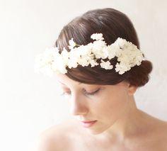 Floral+bridal+crowns   Bridal hair crown, Flower crown, White bridal accessory, Floral ...