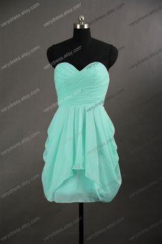Sweetheart Knee-length Short Sage Bridesmaid Dress Wedding Party Dress Prom Dress 2014