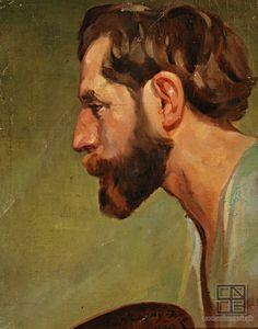 Elemír Köszeghy-Winkler: Muž s bradou z profilu:1900 - 1920