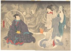 scene from 'The Okazaki Cat Demon' by Utagawa Kuniyoshi, 1850 ~ met museum