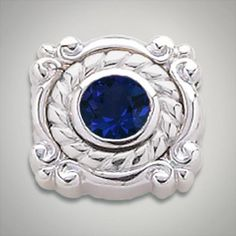 6.00 mm Round Synthetic Sapphire Blue set in Sterling Silver Slide. All Sterling Silver is Rhodium plated. Metal:Sterling Silver Designer:Goldman-Kolber $ 110.00 Item #: VD64Z5 Call 870-863-8818 for personal consultation.