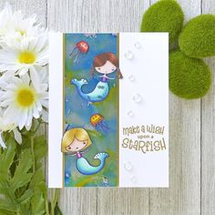 Posted @withregram • @anniebwills Fun little summertime birthday card made with alcohol inks on @cutcardstock foil cardstock and adorable @joyclairstamps images. . . . . . #CutCardStock #JoyClairStamps #joyclairdesigns #joyclair #SeasTheDay #Papercrafting #Papercraft #Papercrafts #Cardmaking #CardmakersofInstagram #Cardmaker  #CraftersofInstagram #HandmadeCards #HandmadeCard #SummerCrafting #SummerCrafts #Summer #BeachDreams #Mermaid #Copics #CopicMarkers #AlcoholInks #AlcoholMarkers… Alcohol Markers, Alcohol Inks, Card Maker, Copics, Summer Crafts, Cardmaking, Card Stock, Summertime, Birthday Cards
