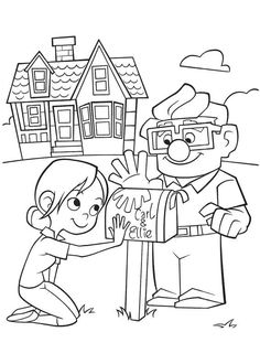 Up coloring pages for kids birthday party