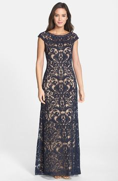 Tadashi+Shoji+Embroidered+Tulle+Cap+Sleeve+Gown+available+at+#Nordstrom