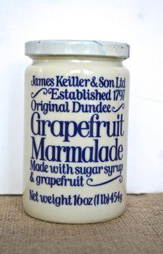 Antique Grapefruit Marmalade Preserves Jar English Blue & White Milk G