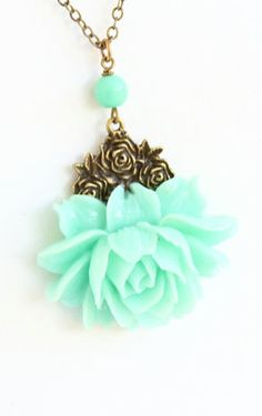 Necklace Mint Green Flower Necklace Rose
