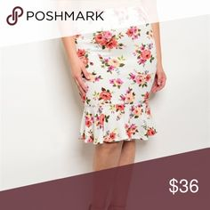 "Floral Curvy Skirt This chic printed midi skirt is so comfy and versatile. 96% polyester, 4% spandex. 2x measurements waist 36-38"" hip 46-48"" 3x measurements waist 39-41"" hip 49-51"" Boutique Skirts Midi"